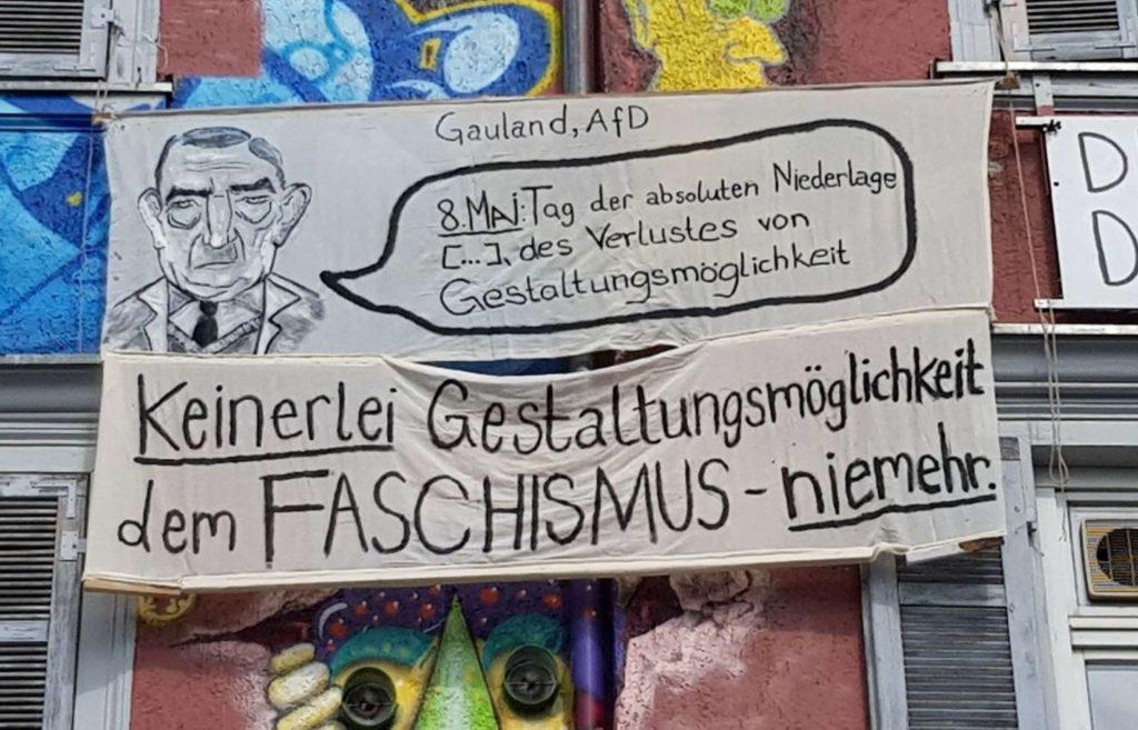 Transparent zum 8.Mai - 75 Jahre Befreiung vom Faschismus an der Macht
